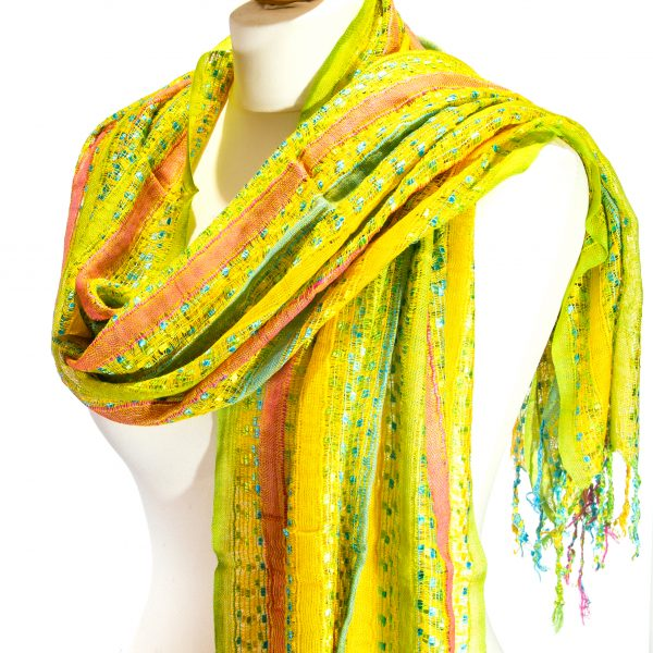 Indian Scarf Green-Pink-Yellow