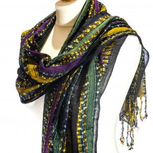 Indian Scarf Black-Purple-Yellow
