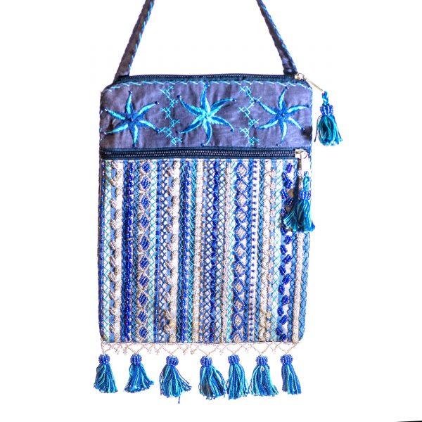 Bedouin Beaded Bag Indigo