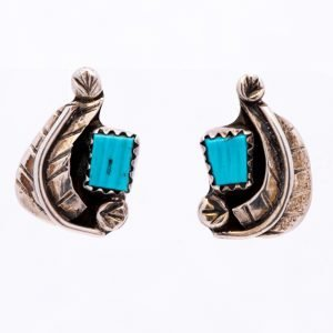 Annabel Du Boulay Shop Zuni Silver & Turquoise Feather Earrings