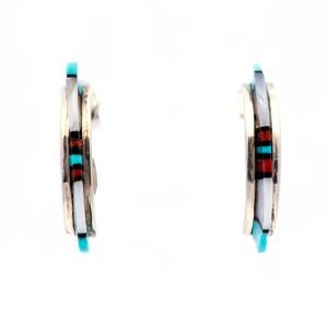 Annabel Du Boulay Shop Zuni Inlaid Hoop Earrings