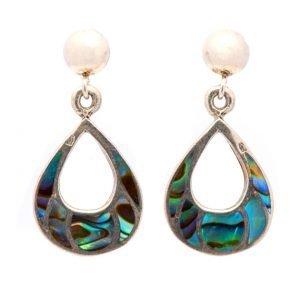 Annabel Du Boulay Shop Silver Teardrop Abalone Shell Earrings