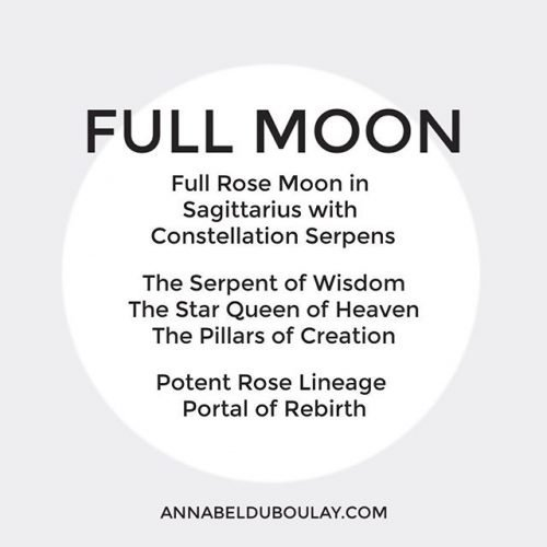 Image with text about full rose moon